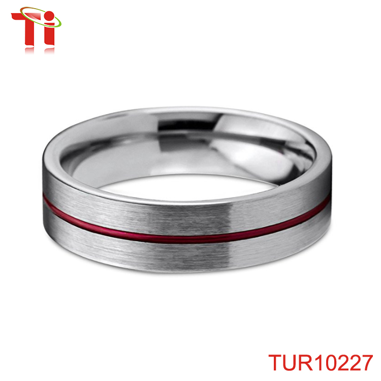 Tungsten Wedding Band Ring 6mm for Men Women Red Grey Flat Pipe Cut Brushed Polished