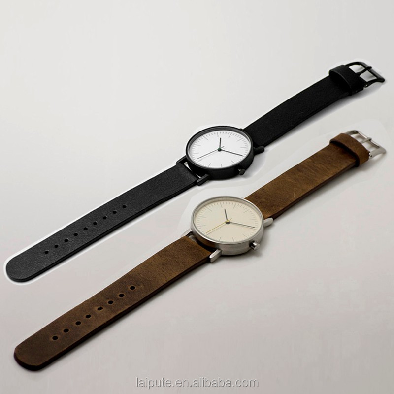 Japan movt sapphire simple unisex watch stainless steel watch vintage calf genuine leather straps orologi water proof