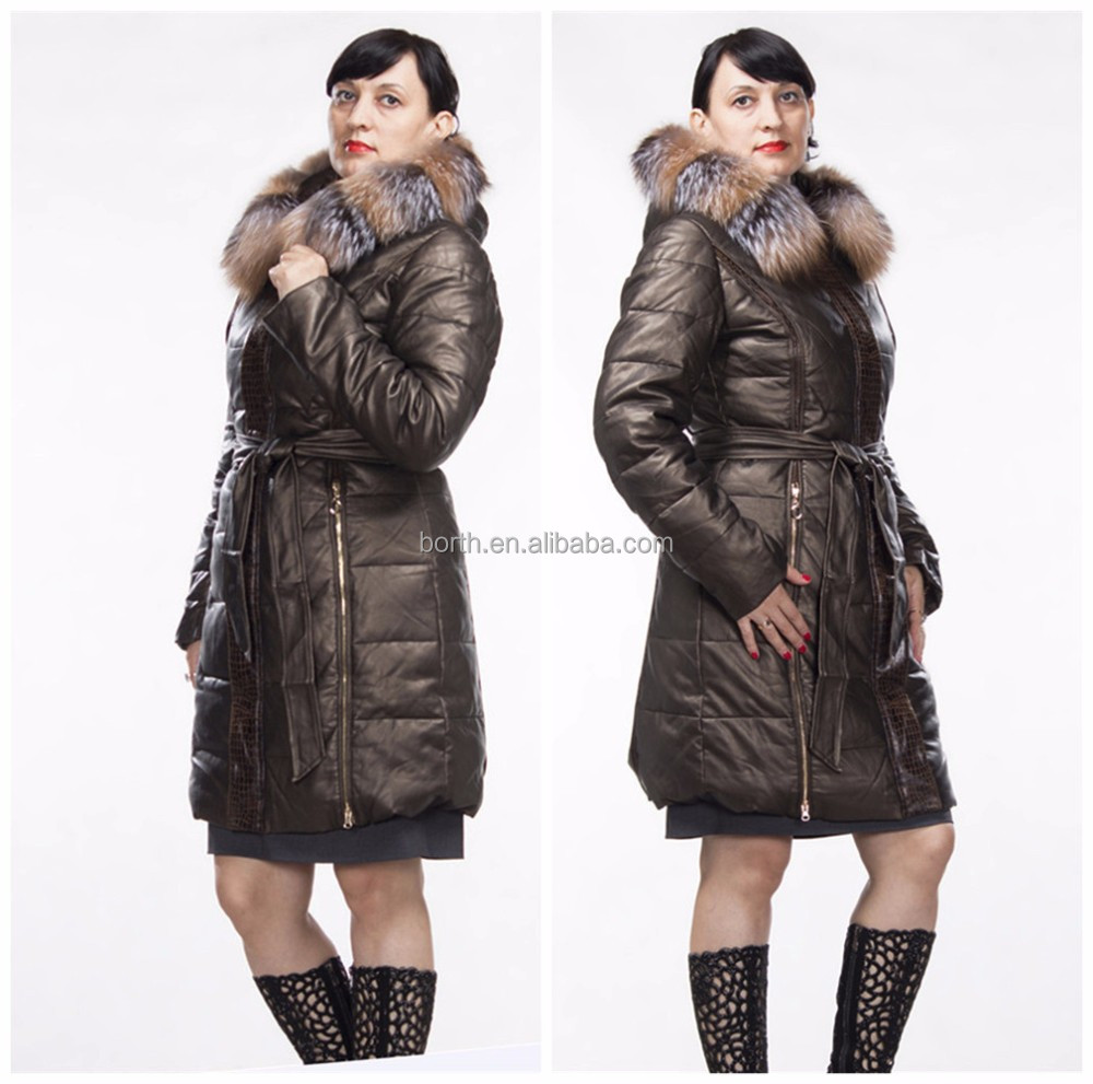 In stock Fashion winter women leather down jacket coat with real fox fur collar