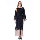 Women Muslim Abaya in Dubai Latest Design Kaftan Arab clothing Fashion Ruffle sleeve Abaya Dress With Beads