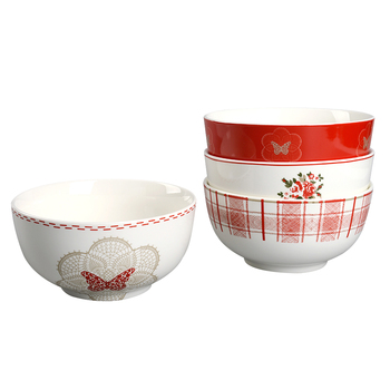 2019 new idea red Chinese ethnic ceramic bowls cereal noodle bowl