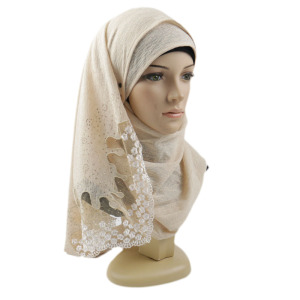 The Lowest price Jersey hijab of 5 colors 60cm*165cm size Lace scarf for Dubai
