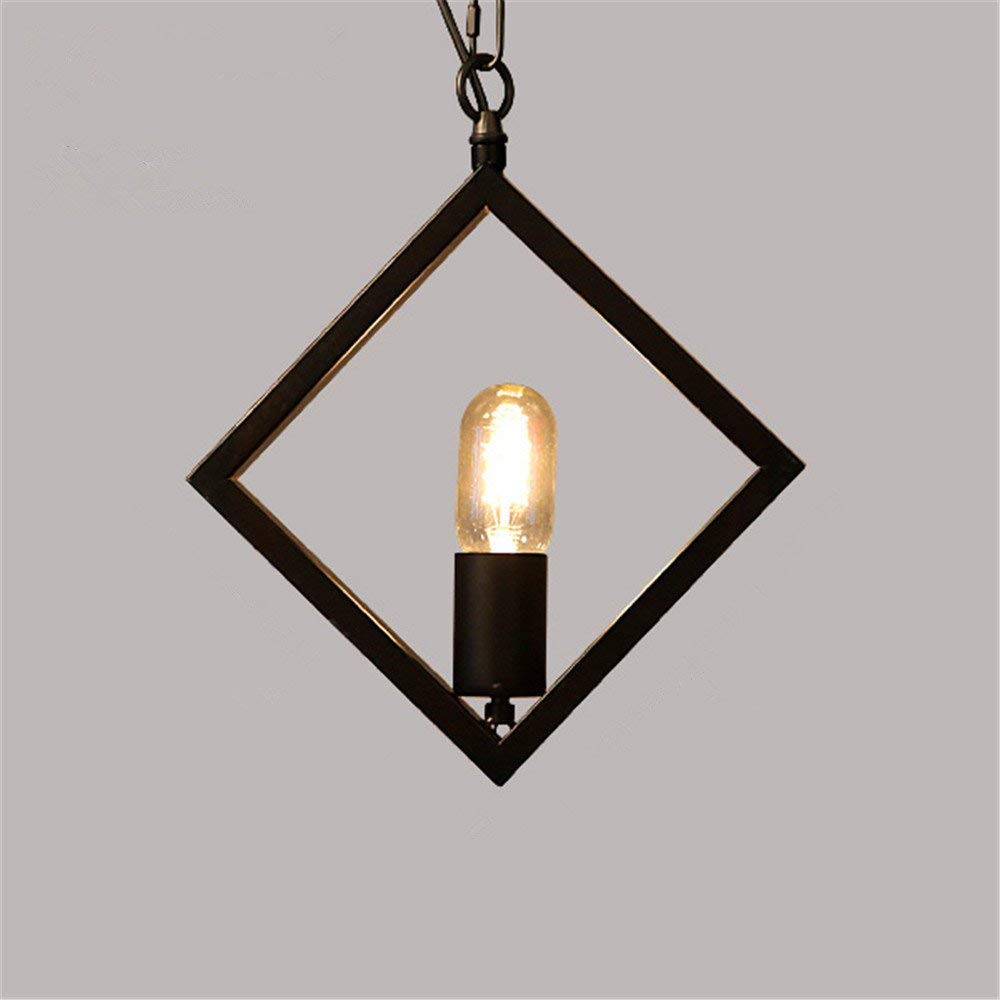 Industrial Pendant Light Geometric Irons Single Head Chandelier Artistic Creative Retro Industrial Wind, Diamond Diameter 20 20cm