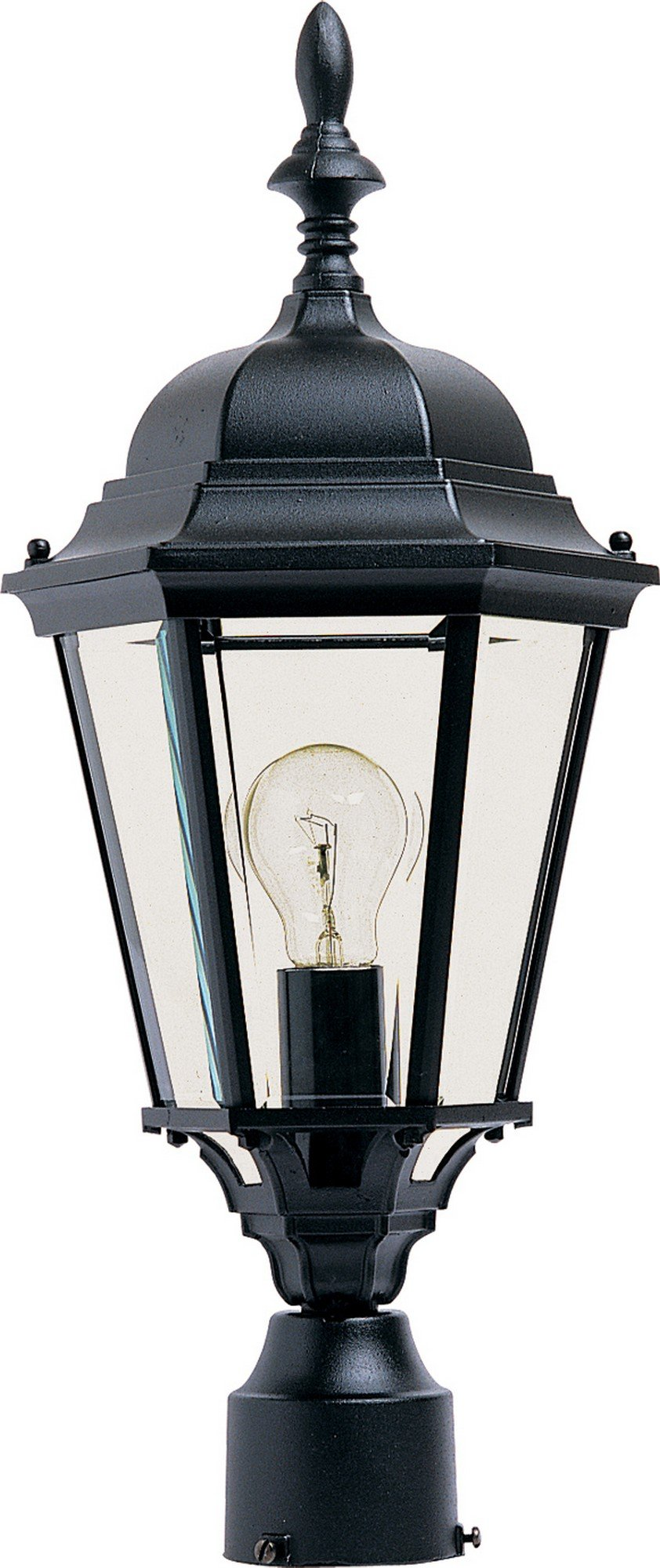 Maxim 1005BK, Westlake Cast Aluminum Post Lamp - 100W Black Outdoor Post Lighting, Incandescent Post Lantern. Lighting Fixtures