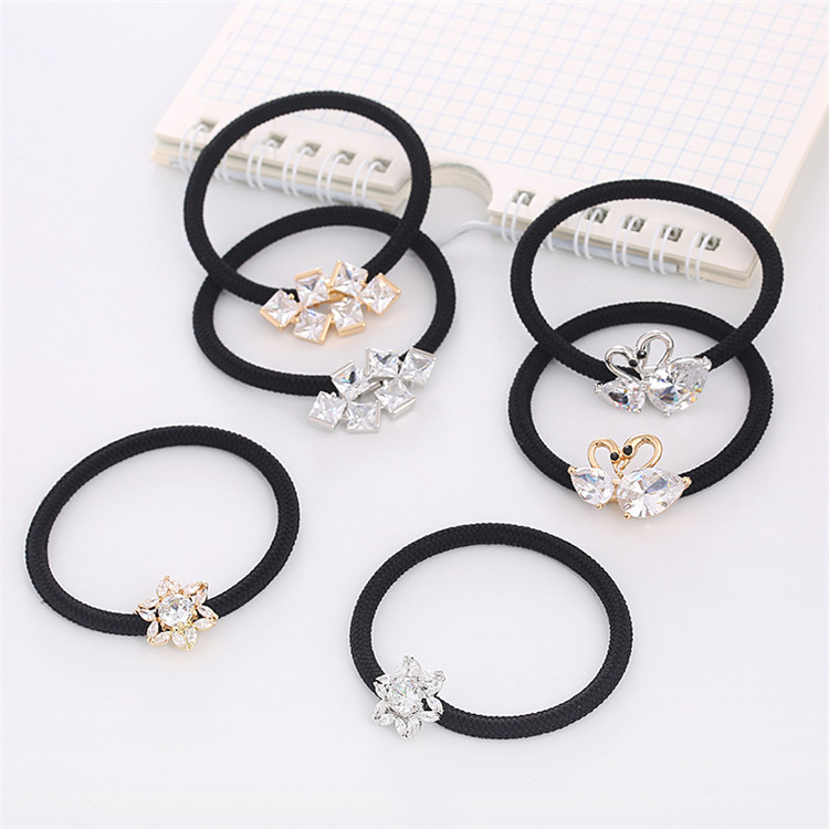 단아한 crystal hair tie women thin elastic hair band 패션