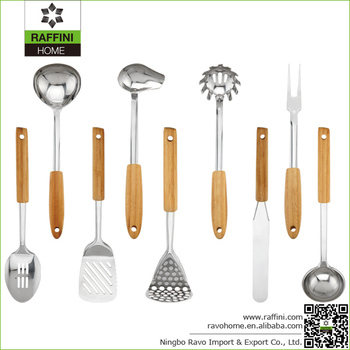High Quality Bamboo Handle Stainless Steel Utensil Set