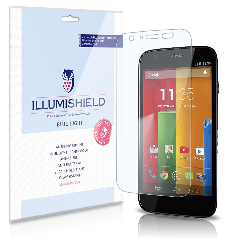iLLumiShield – Motorola Moto G (HD) Blue Light UV Filter Screen Protector Premium High Definition Clear Film / Reduces Eye Fatigue and Eye Strain – Anti- Fingerprint / Anti-Bubble / Anti-Bacterial Shield - Comes With Free LifeTime Replacement Warranty – [2-Pack] Retail Packaging (4G LTE Compatible)
