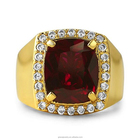 Engagement Jewelry Men Jewelry Fashion Gold Artificial Stone Ruby Ring