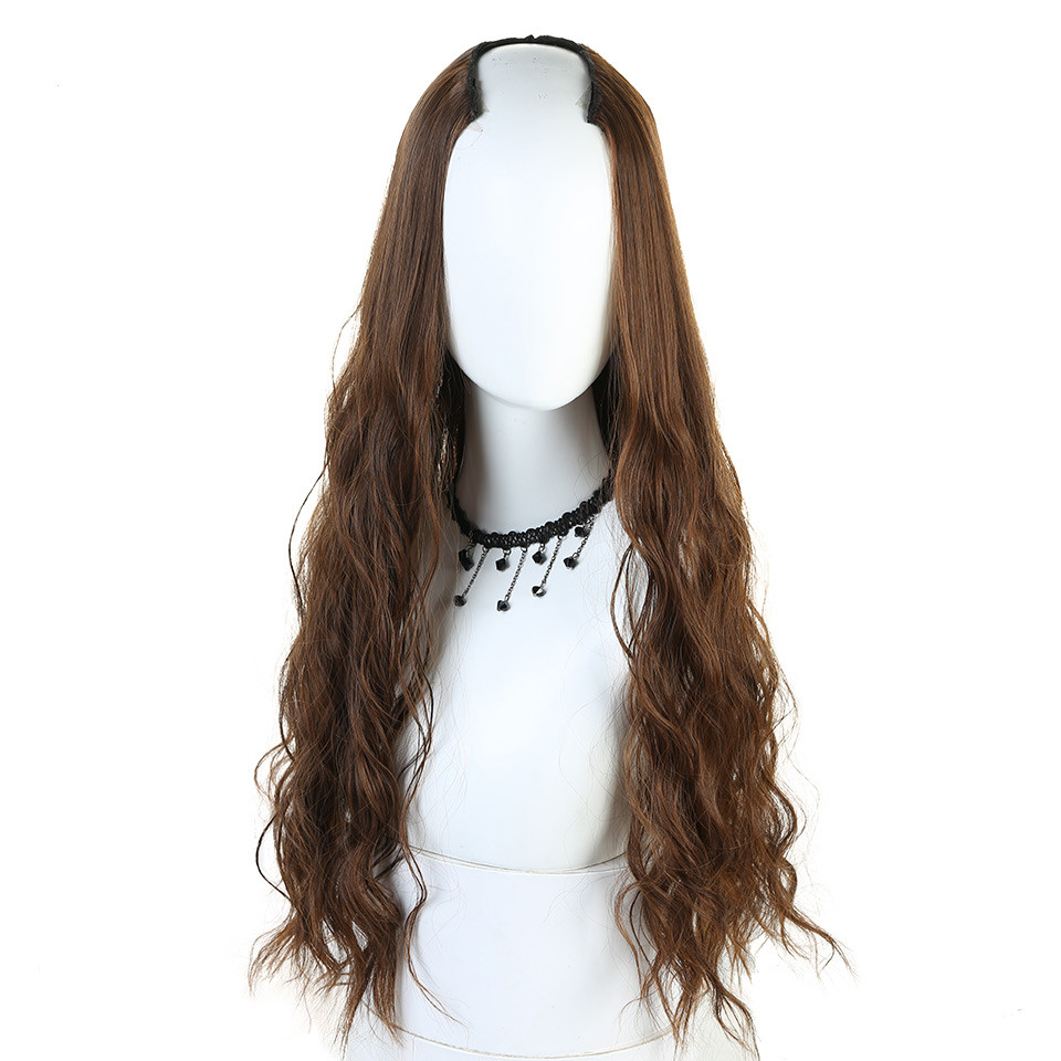 "Long Wavy Curly U part Half Wig for Women 24"" synthetic hair"