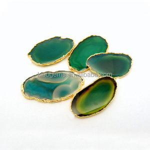 40x70mm oval colored green agate slice wholesale gold rim plated