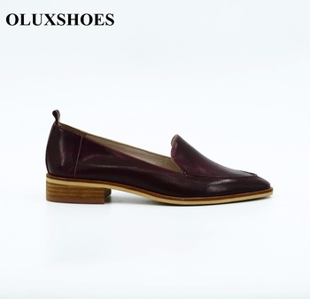4e03d244f1c High quality women luxury fashion leather Shoes women s burgundy flat  office shoes