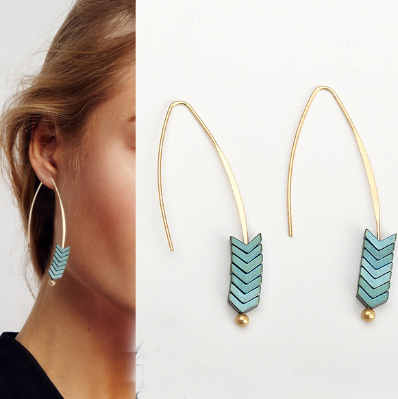 2017 Summer New Hot Trend Ore Stone earrings, Ore earring, Fashionable hoop arrow earring