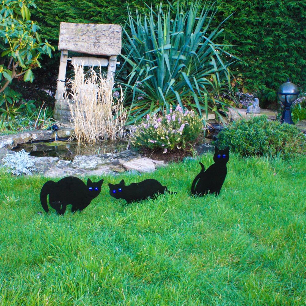 3pc Pest Control Black Metal Mouse Scare Cats Scarer