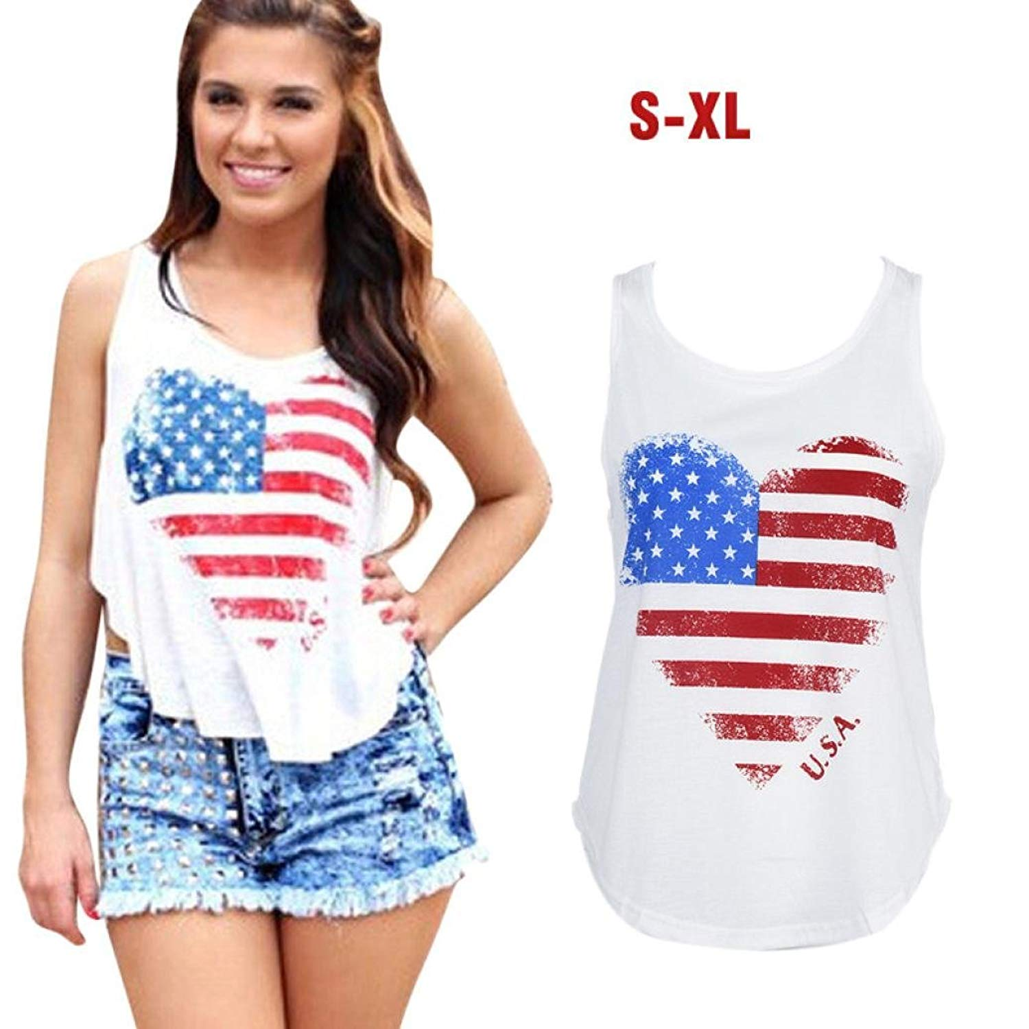 Women Blouse,Sexy USA Flag Print Camisole Ladies Shirt Party Crop Apparel Axchongery