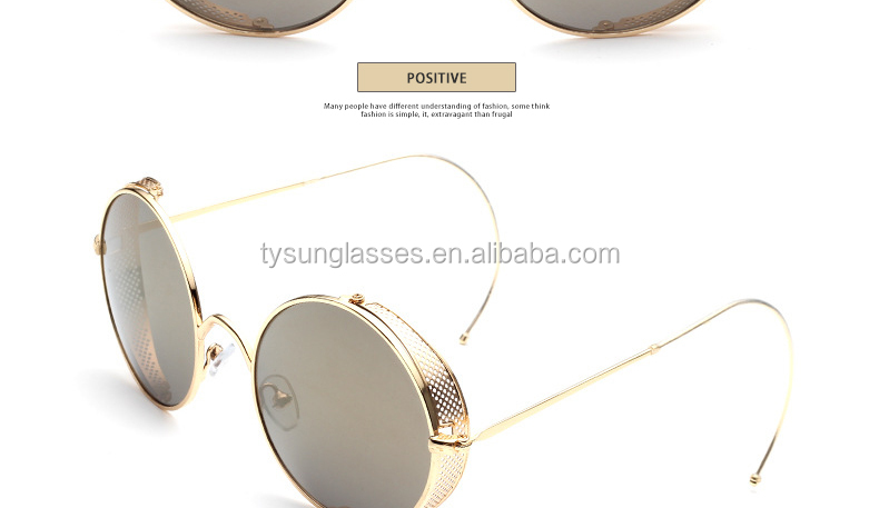 630483f895b Fashion Steampunk Sunglasses Women Brand Designer Mesh side cover curved  leg Round Vintage Sun Glasses Metal