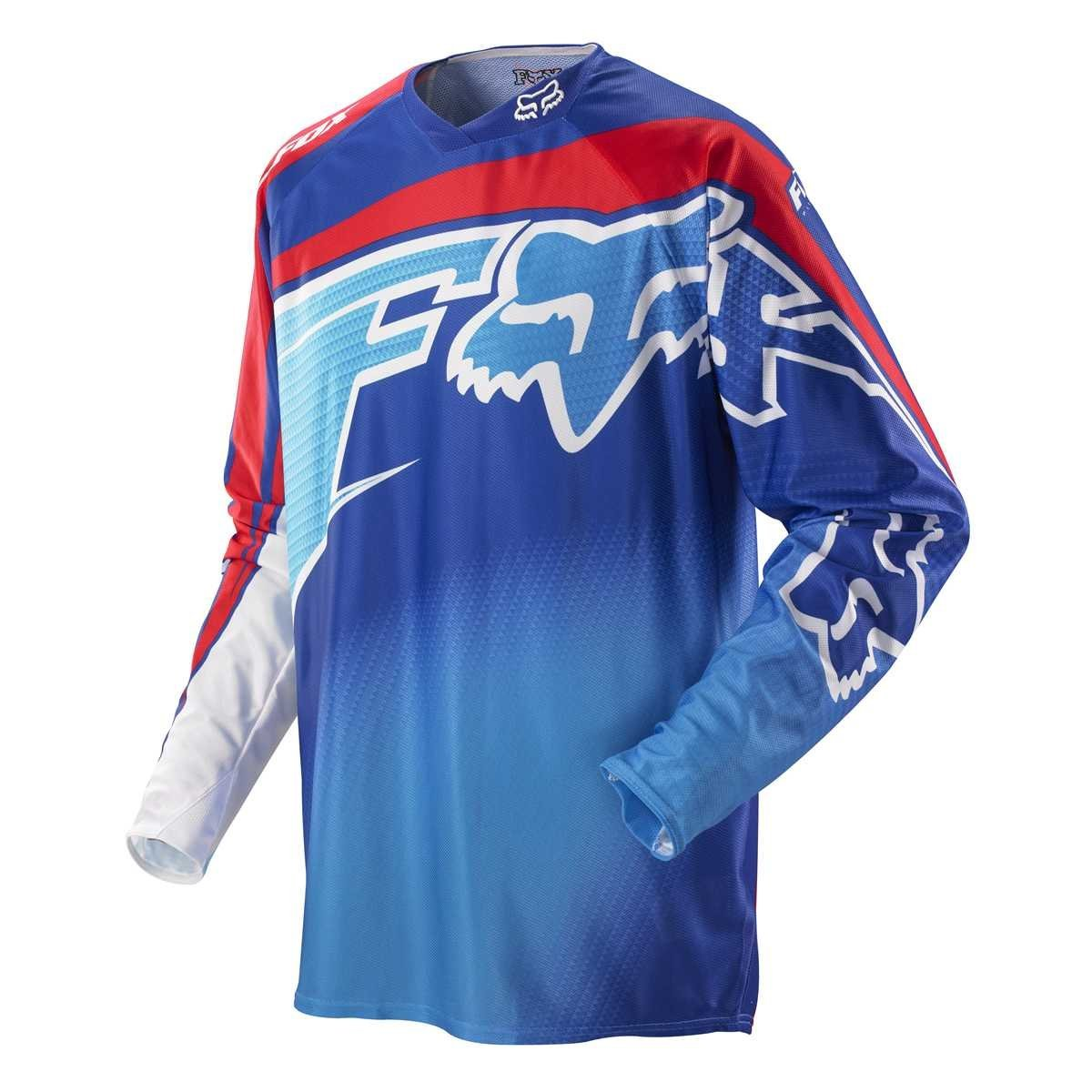Fox Racing 360 Flight Men's Dirt Bike Motorcycle Jerseys - Blue/Red / X-Large