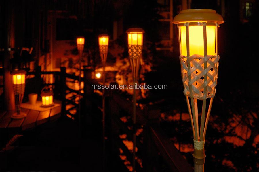 Solar Flickering Tiki Lights Bamboo Torch Garden Outdoor