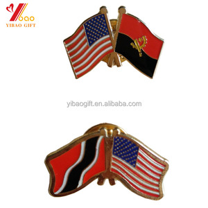 Custom US Double Flags metal material enamel pin badge for Activities Use