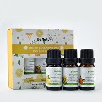 BeNatu Trio of Essential Oils, 100% Pure and Organic Lemon, Citrus, Bergamot, Air Fresh for Room,Massage for Skin & Hair