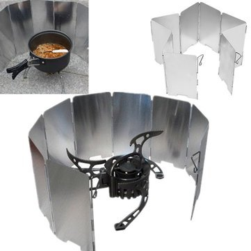 Outdoor Picnic & Bbq - Ipree Camping Foldable Aluminum Plates Bbq Stove Wind Shield - Camp Stove Windshield Backpacking Windscreen Portable Camping Cooker Stoves Fuel Aluminum Plate - 1PCs