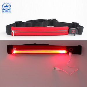 Sport Belt Fashion Reflective LED Waist Pack Elastic LED Light Waist Bag For Fun Run Jogging Cycling etc