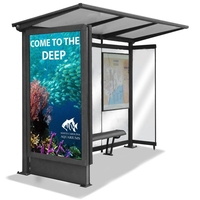 2020 hot sell bus station with outdoor led advertising light box bus stop shelter with bench for stock