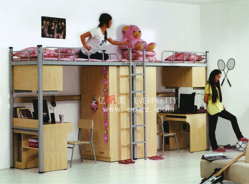 Student Dormitory Triple Bunk Bed With Desks Metal Bunk Bed With