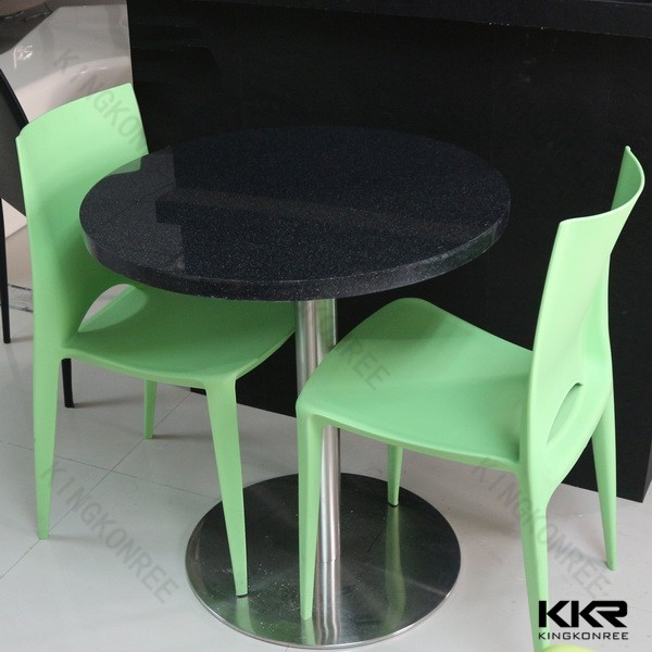 Round black table top composite resin stone dining tables and chairs