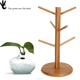Simple And Easy Design Bamboo Hanger Wooden Coffee Cup Rack