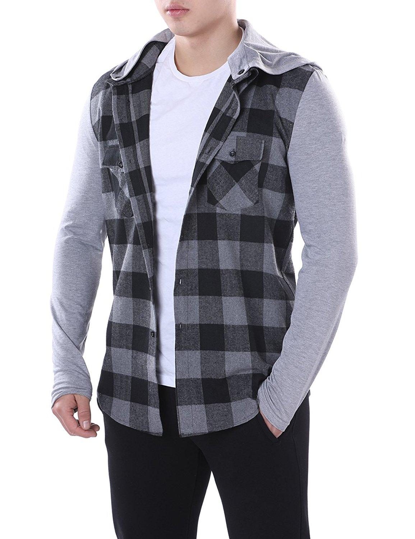 abfb4a82d622d0 Get Quotations · HEQU Men's Classic Plaid Long Sleeve Curved Hem Button  Down Shirt Hoodie Shirt