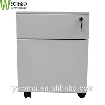 Superior High Quality Steel 2 Drawer Mobile Pedestal Filing Cabinet Used Metal Filing  Storage Cabinet With Wheels