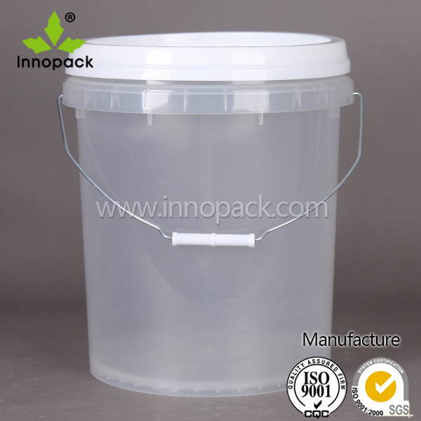 Pp Clear Food Grade Plastic Bucket 20 Liter With Lid And Handle