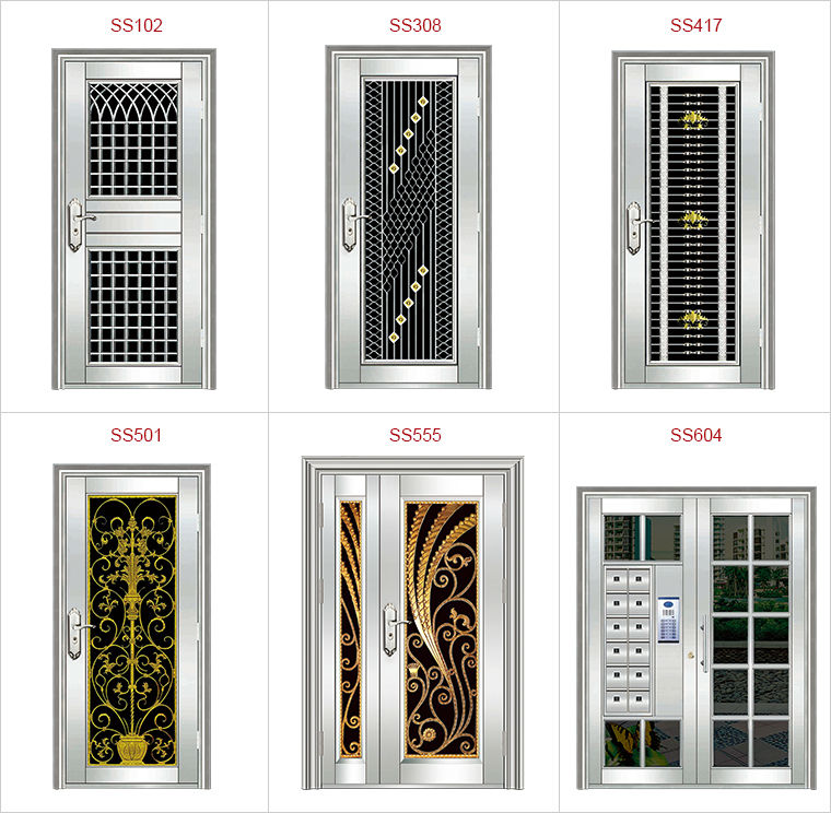 Modern main door design stainless steel exterior steel for Door design steel