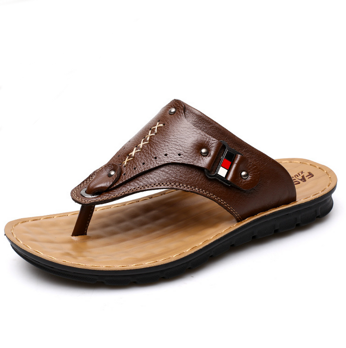 UP-0520J Wholesale china leather slippers summer sandals men