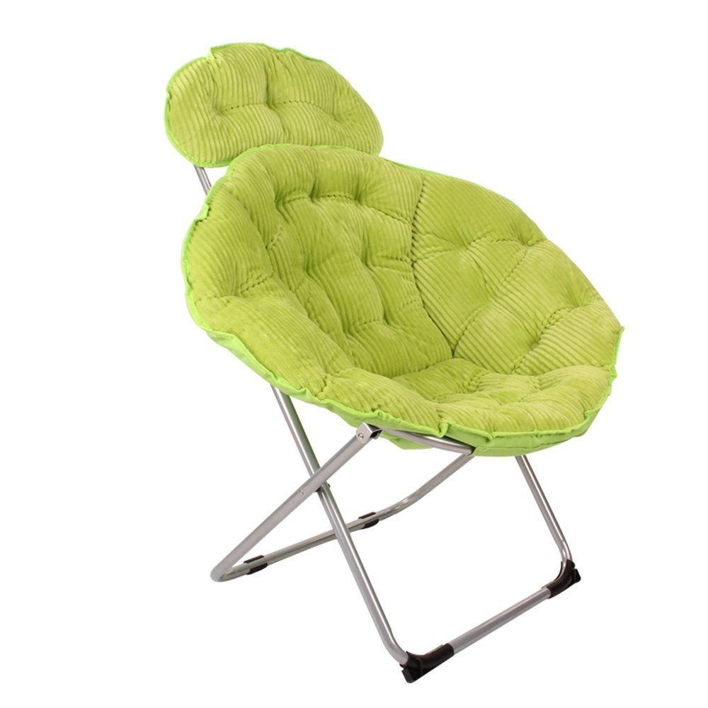 Folding chair / moon chair / lazy chair / lunch break deck chair / backrest / sun chair / round folding chair / casual home computer chair /Four colors available ( Color : Green )