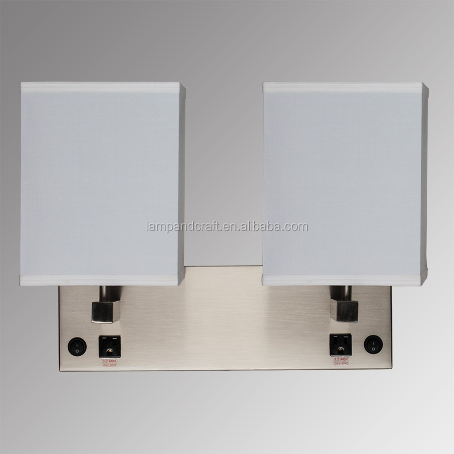 UL CUL Listed Brushed Nickel Double Wall Lamp Hotel Lamps bedside hotel wall sconce With on/off rocker switch and outlet