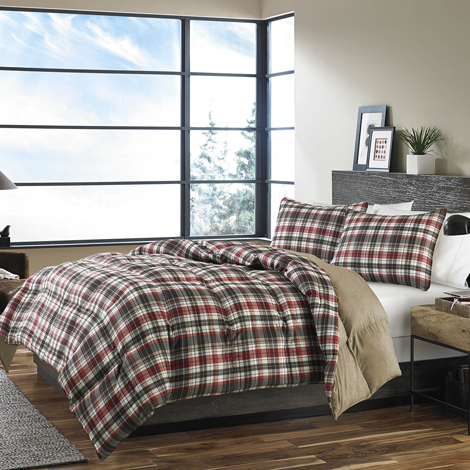 OSD 3pc Red Dark Grey White Tartan Plaid Comforter Full Queen Set, Stylish Madras Checkered Bedding, Burgundy Gray Taupe Tan Brown, Lodge Cabin Lumber Jack Glen Check Themed Pattern