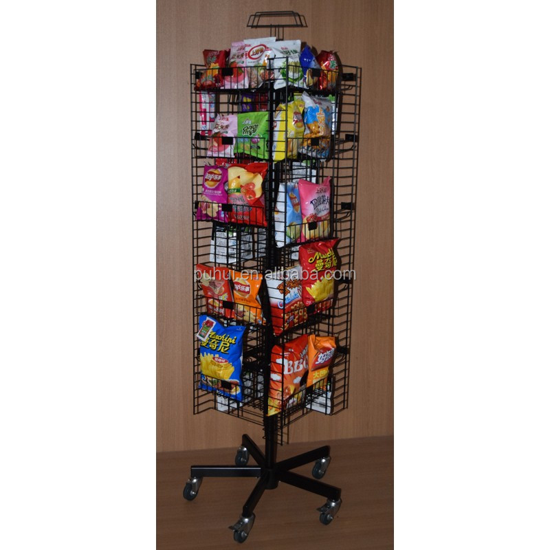 counter stand store promotion custom steel wire basket holder storage snack food sweets cookies metal display rack