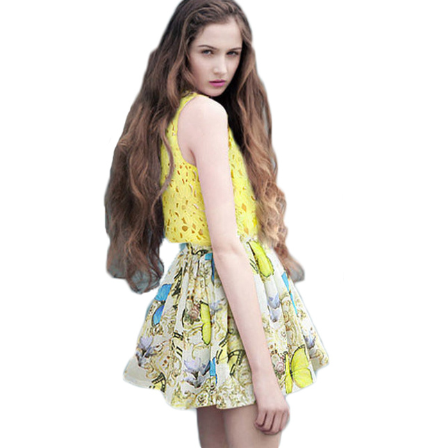 Fashion Plus Size Clothing set For Women Tops + Skirts Womens Print Chiffon Plested Mini Skirt Yellow Lace Tank Crop Top 718