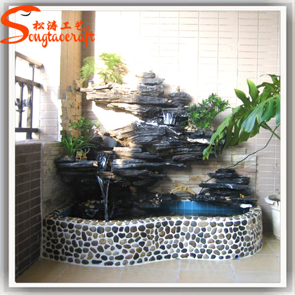 Indoor Decor Garden Pond Fiberglass Fish Ponds Stone Fountain Waterfall With Pump For Sale Buy