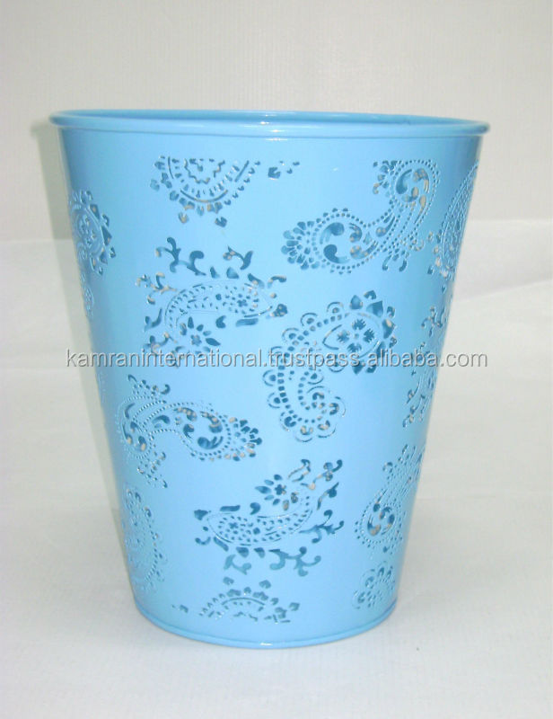 Metal etched cut Flower planter, metal painted planter, Decorative flower pot planter
