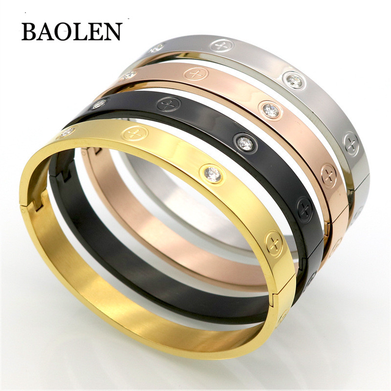 Couple Bangle Bracelet Cross Screw Gifts For Women Titanium Steel Gold Color Fashion Men Jewelry Love Bracelets & Bangles