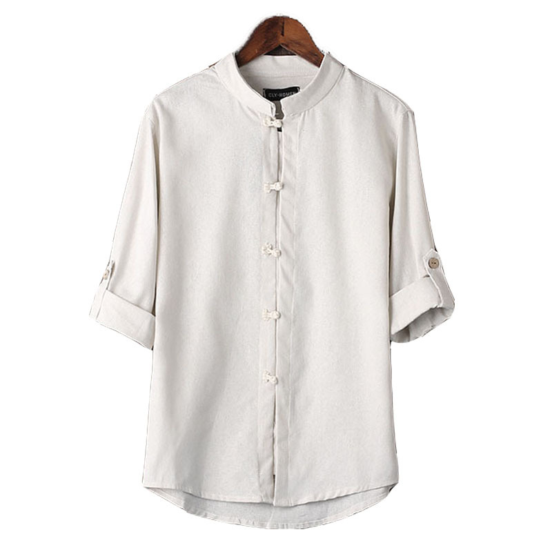 c5274d0e595 Get Quotations · White Linen Shirts Men Collar Three-Quarter Sleeve Ethnic  Linen Shirts Traditional Plus Size Shirt
