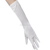 Women Shiny Stretch Satin Long Wrist Bridal Gloves for Party Prom Wedding