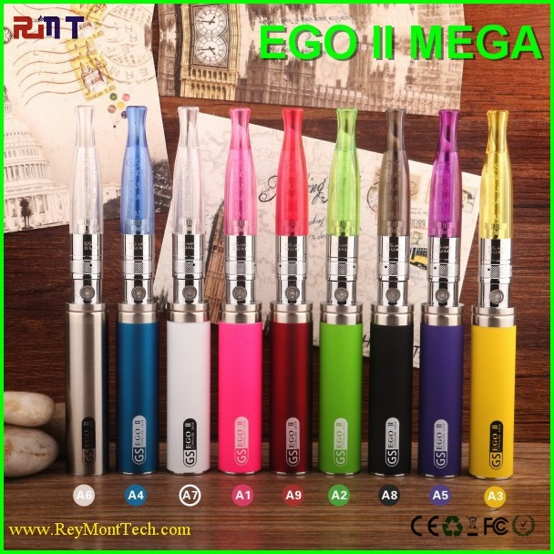 Hottest 2014 Huge Vapor Vaporizer eGo II Mega Kit with 2200mAh GS eGo 2 Battery and GS H2 Clearomizer