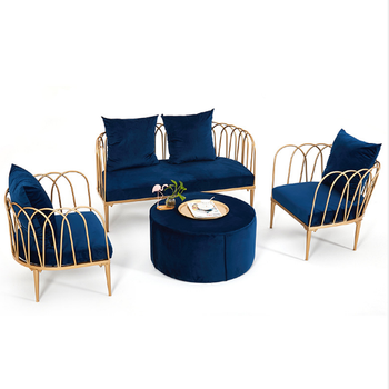 Metal Wire Lotus Sofa Set With Navy Blue Velvet Cushion - Buy Metal Wire  Sofa Set,Metal Sofa Set Designs,Metal Wire Lotus Sofa Set Product on ...