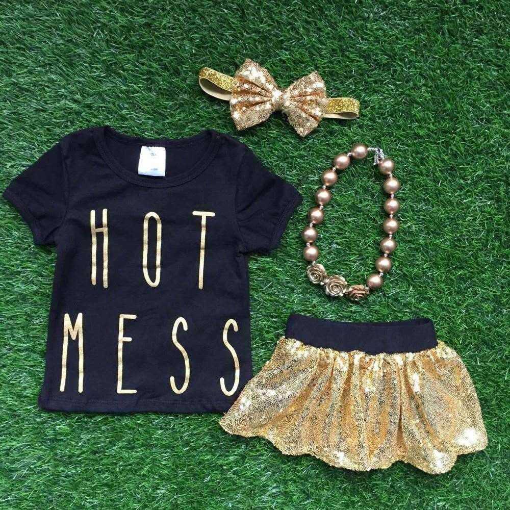 Gold Sequins Skirt Hot Mess Shirt Skirt Set Girls Clothes Girls