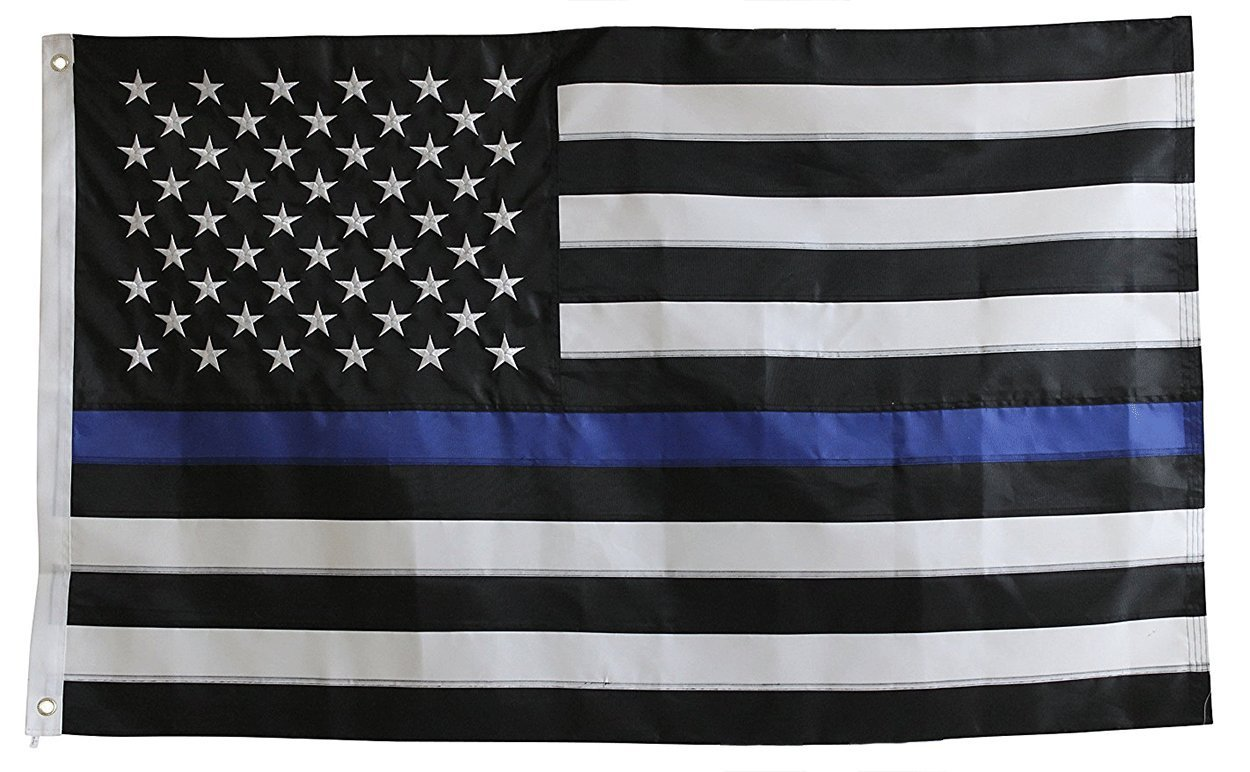 Thin Blue Line Flag 3x5 Ft with Embroidered Stars, Sewn Stripes and Long Lasting Nylon, American Police 3x5 flags blue line with black and white, Honoring Law Enforcement Officers