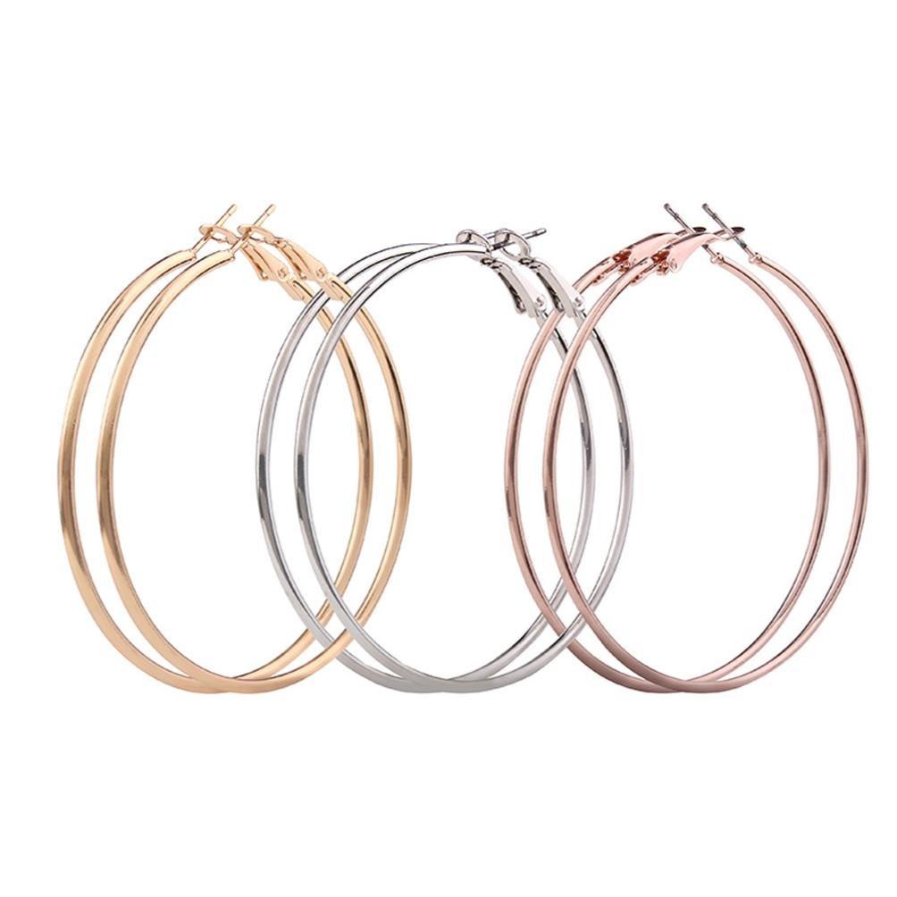 Clearance! Hoop Earrings, Hmlai 3 Pair Fashion Thin Round Big Large Dangle Hoop Loop Earrings for Women Girls