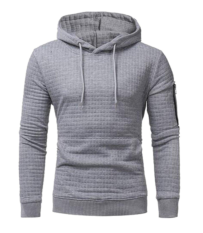 Fensajomon Men Hoodie Fall Winter Sport Long Sleeve Solid Hooded Sweatshirt Light Grey XXL